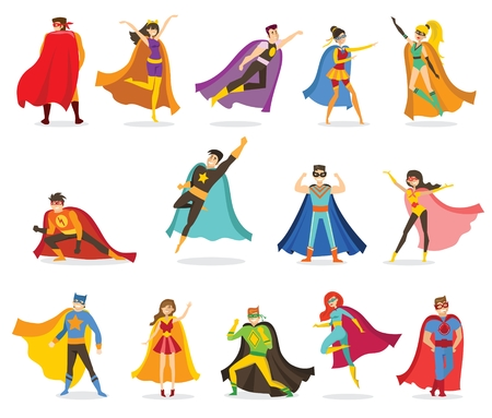 A Vector illustrations in the flat design of female and male superheroes Illustration
