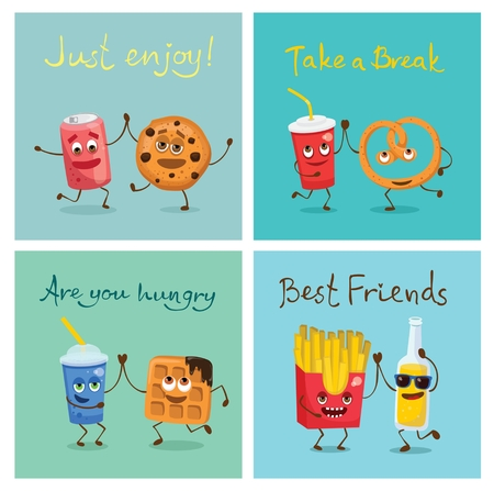 Cartoon funny friends fast food - can of soda and cookie, fresh and pretzel, lemonade and waffle.