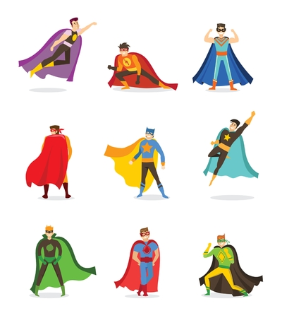 Flat design of a male superheroes in a funny comics costume vector illustration.