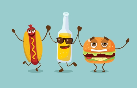 Cartoon funny friends fast food - bottle with lemonade, hot dog and hamburger.
