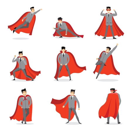 Superheroes with the red cloak. Stock Vector - 95163453
