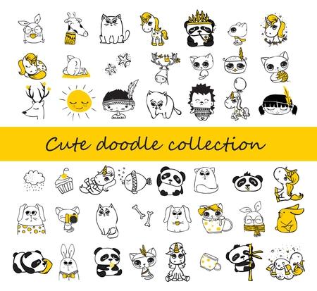Cute doodle collection. Simple design of cute animals, birds