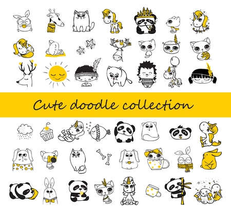 Cute doodle collection. Simple design of cute animals, birds