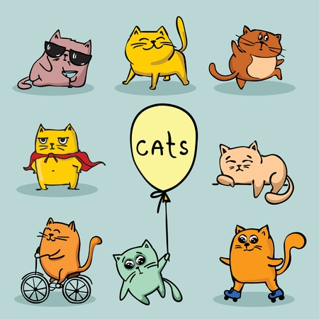 Set of vector cute funny cats for greeting card design