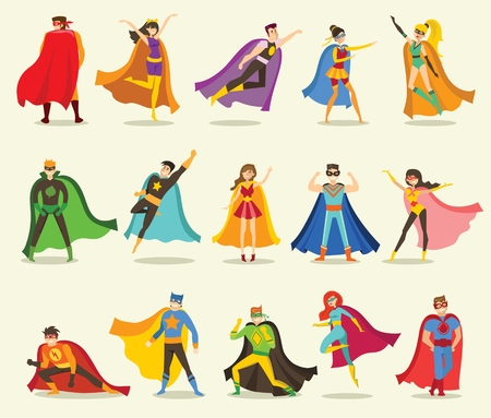 Vector illustrations in the flat design of female and male superheroes