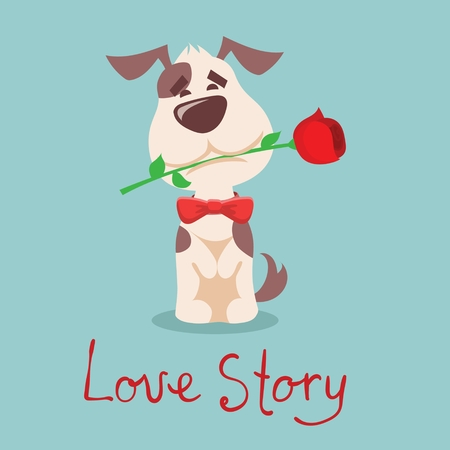 Vector illustration of cute cartoon little Valentine puppy in love with rose 일러스트