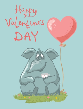 Vector illustration of cute cartoon Valentine elephant in love with heart balloon.