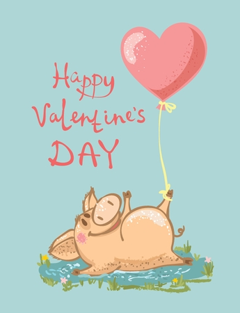 Vector illustration of cute cartoon Valentine pig in love with heart balloon