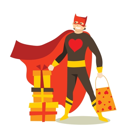 Vector illustration of a man in costume with gifts for valentines day. Illustration