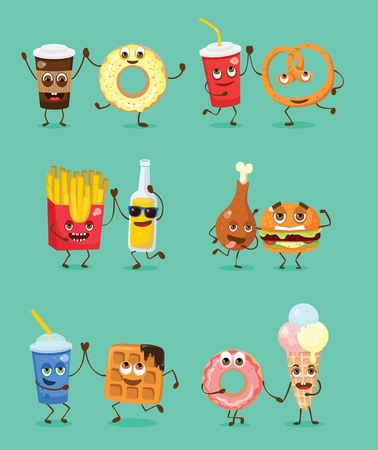Cartoon funny friends fast food - coffee and donut, fresh and pretzel, lemonade and waffle and others. Vector illustration.  イラスト・ベクター素材