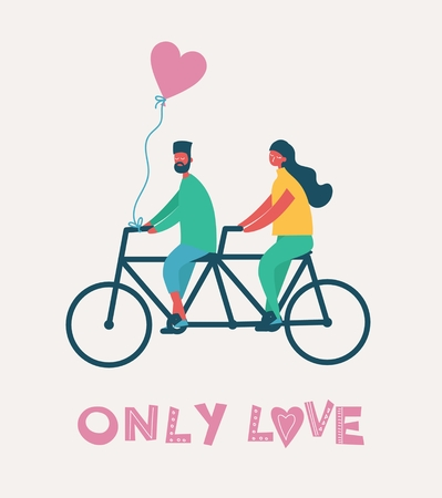 Vector Valentine illustration in a flat style of happy people in love Illustration