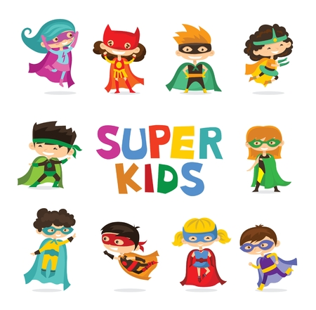Cartoon vector illustration of Kids superheroes wearing comics Illustration