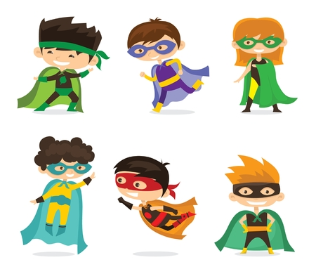 Cartoon vector illustration of Kid Superheroes wearing comics Illustration