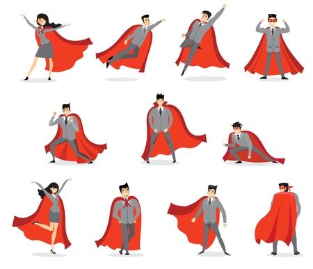 Vector illustrations in the flat design of set of businessmen and businesswomen Superheroes. Vectores