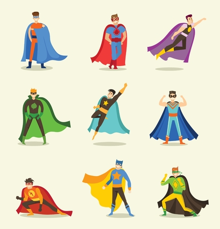 Vector illustration in a flat design of a male superheroes in a funny comics costume