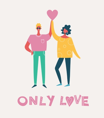 Vector Valentine illustration card in a flat style of happy couples in love and greeting text Illustration
