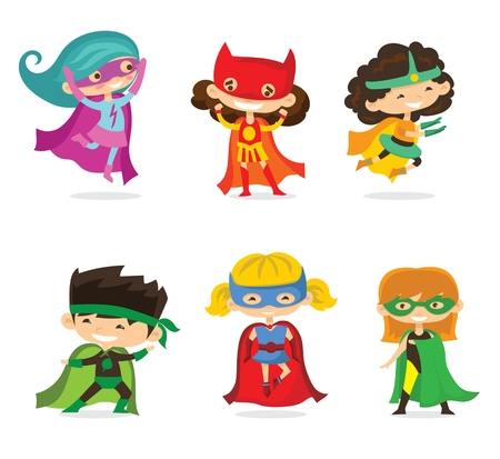 Cartoon vector illustration of Kid Superheroes wearing comics costumes