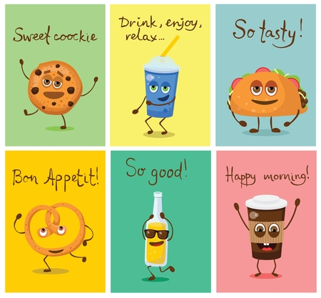 Cartoon cards with funny friends fast food - can of soda, cookie