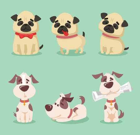 A Vector illustration set of cute and funny cartoon little dog-pupies. Ilustração