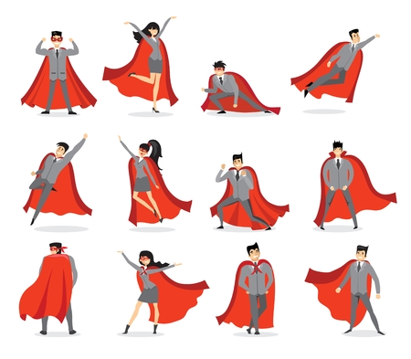 Illustration of a set of men and women with capes