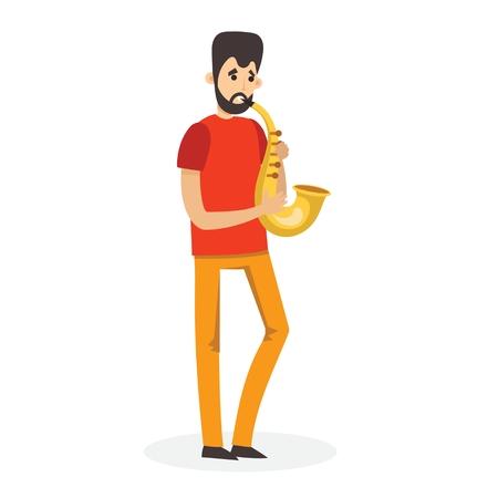 Funny boy playing saxophone, cartoon vector illustration isolated on white background.