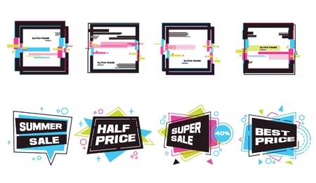 Big set of abstract banners in flat and digital glitch style