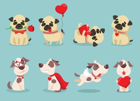 Vector illustration set of cute and funny cartoon little Valentine dog-pupies in love