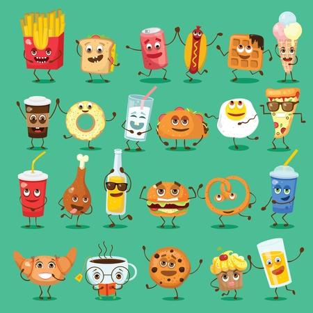 Cartoon funny friends fast food -coffee and donut, fresh pretzel