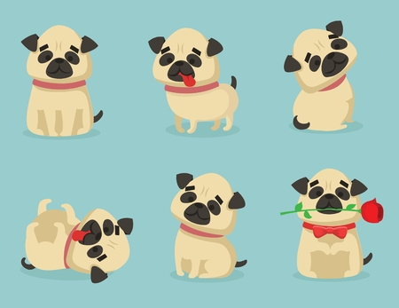 Vector illustration set of cute and funny cartoon little pug pupies.