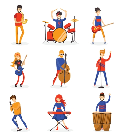 Cartoon music band. Concept music character design