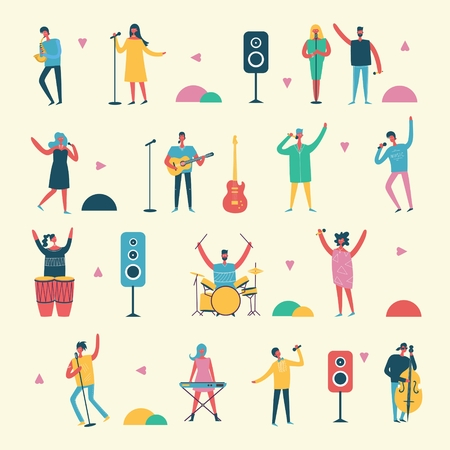 Vector background in a flat style of group of singing
