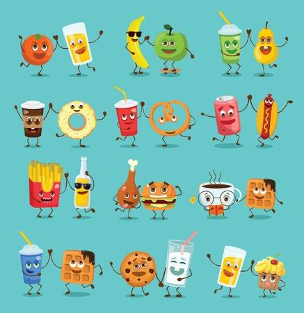 Divertidos personajes de comida de mejores amigos con emociones. Ilustración de vector