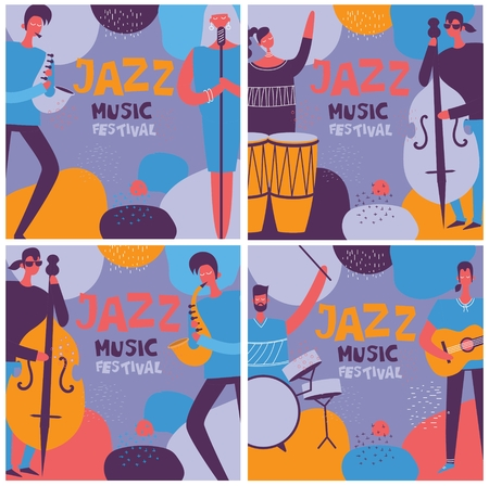 Set of colorful jazz music festival posters in flat design Stock Illustratie
