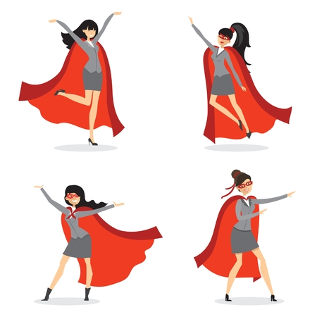 Vector illustrations in the flat design of set of businesswomen Superheroes with the red cloak. Illustration