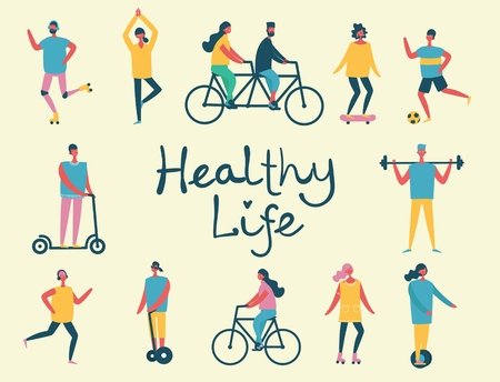 Vector illustration in flat design of group people doing sports and healthy life