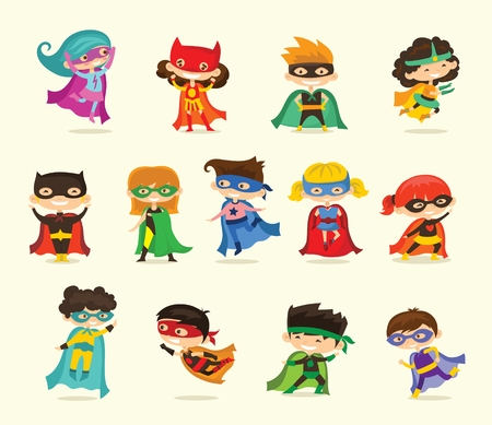 Cartoon vector illustration of kid superheroes