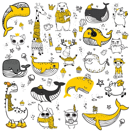 Vector set of cute doodle hipster animals