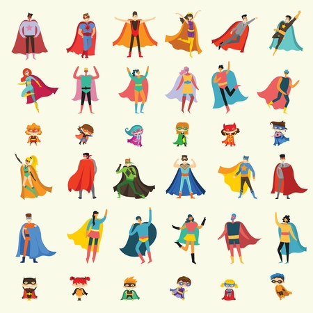 Vector illustrations in the flat design of female, male and children superheroes