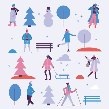 Vector illustration in winter season. Ilustração