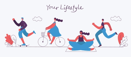 World Health Day. Vector illustration of a healthy lifestyle