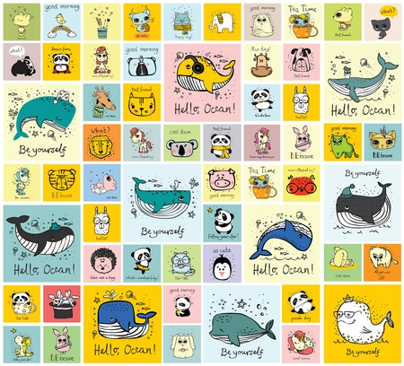 Vector set of cards with cute happy animal