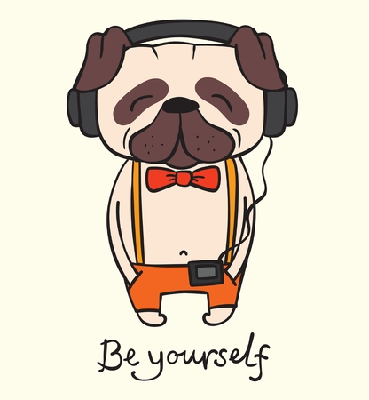 Vector illustration of cute and funny cartoon hipster pug puppy