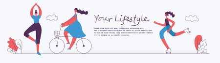Vector illustrations of a healthy lifestyle.