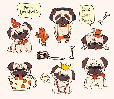 Vector illustrations of cute and funny cartoon hipster pug puppies