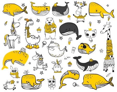Ensemble de vecteurs d'animaux mignons de hipster doodle.