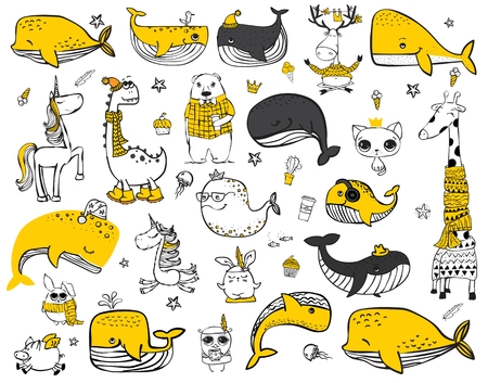 Vector set of cute doodle hipster animals.  イラスト・ベクター素材