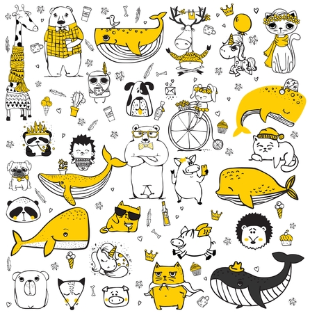 Vector set of cute doodle hipster animals. Çizim