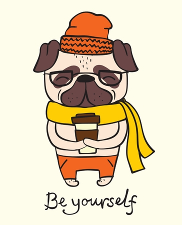 Illustration card of cute and funny cartoon hipster Ilustração