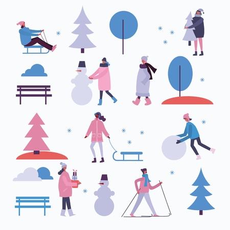 Vector illustration in winter season. Illusztráció