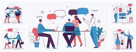 Ilustración de vector de gente de negocios en el estilo plano.